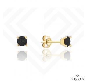 Złote małe kolczyki 585 na sztyft cyrkonia