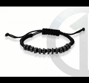 Bransoletka na czarnym sznurku z cyrkoniami