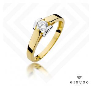 Złoty pierścionek z BRYLANTEM  0,30ct pr 585