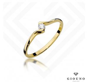 Złoty pierścionek z BRYLANTEM  0,09ct pr 585