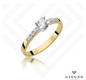 Złoty pierścionek z BRYLANTEM 0,37ct pr 585