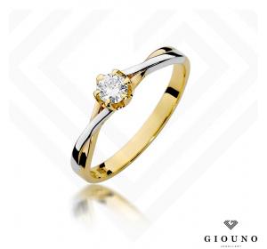 Złoty pierścionek z BRYLANTEM 0,23 ct pr 585