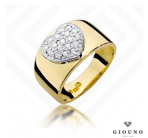 Złoty pierścionek z BRYLANTAMI serduszko 0,26ct  pr 585
