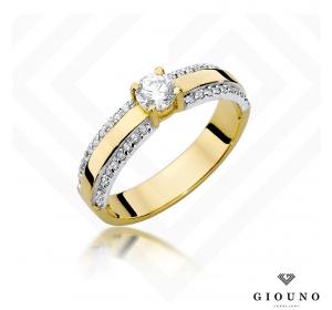 Złoty pierścionek z BRYLANTAMI 0,45ct pr 585