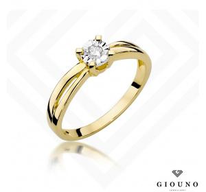 Złoty pierścionek z BRYLANTEM 0,08ct pr 585