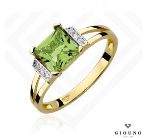 Złoty pierścionek z BRYLANTAMI i oliwinem pr 585