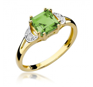 Złoty pierścionek z OLIWINEM i brylantami pr 585