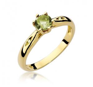 Złoty pierścionek z BRYLANTAMI i oliwin pr 585