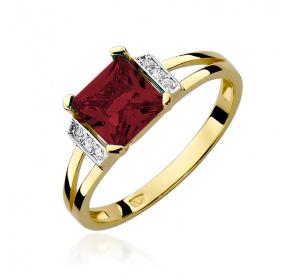 Złoty pierścionek z BRYLANTAMI i granatem pr 585