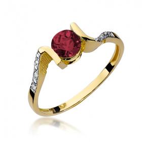 Złoty pierścionek z BRYLANTAMI i grantem pr 585