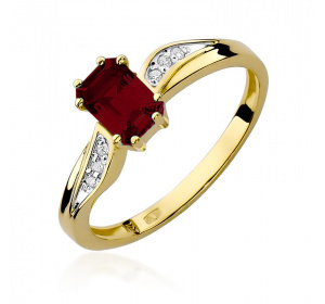 Złoty pierścionek z BRYLANTAMI i granat pr 585