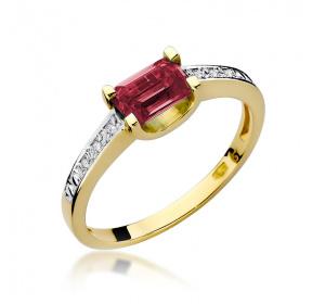 Pierścionek  rubin / brylanty