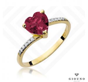 Złoty pierścionek z RUBINEM SERCE i brylantami pr 585