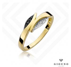 Złoty pierścionek pr 585 z CZARNYMI BRYLANTAMI