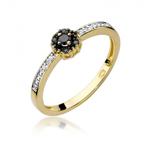 Złoty pierścionek z CZARNYMI BRYLANTAMI pr 585