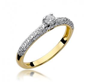 Złoty pierścionek z brylantem 0,36ct pr 585