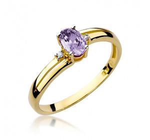 Złoty pierścionek z BRYLANTAMI i tanzanitem pr 585