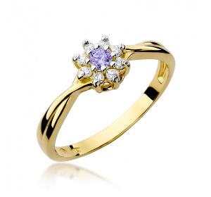 Złoty pierścionek z TANZANITEM i brylantami pr 585