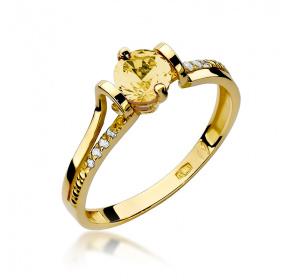 Złoty pierścionek z BRYLANTAMI i cytrynem pr 585