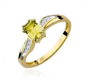 Złoty pierścionek z BRYLANTAMI i cytryn pr 585