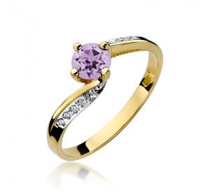 Złoty pierścionek z AMETYSTEM i brylantami pr 585