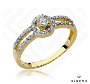 Złoty pierścionek z brylantami 0,31ct pr 585