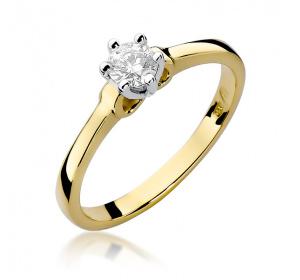 Złoty pierścionek z brylantem 0,25ct pr 585